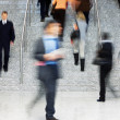 Office Worker Walking Up Stairs, Motion Blur — Stock Photo