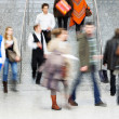 Large Group of Businesspeople on the Stairs, Motion Blur — Stock Photo