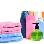 Butylki cosmetics and bath towels — Stock Photo #24084781