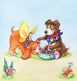 Little Playing Puppies Clip Art — Stock Photo