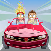 Boy and girl riding in a car at high speed — Stock Vector