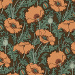 Royalty-Free Stock Vector Image: Retro pattern of red poppies