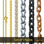 Set of chains made of different metals isolated on white — Stock Vector