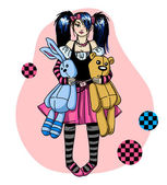 Emo girl with toys — Stock Vector