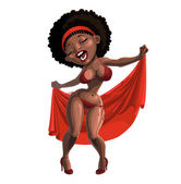 Black woman singing and dancing in swimsuit with cape — Stock Vector