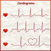 Set of cardiograms — Stock Vector
