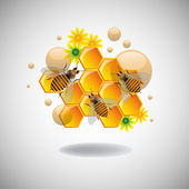 Honeycomb cells and bees — Vector de stock