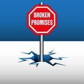 Broken promises plate — Stock Vector