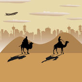 Crossing the desert — Stock Vector