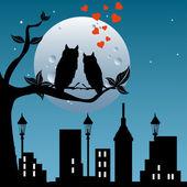 Watching the moon — Stock Vector