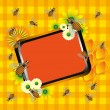 Frame with bees and flowers — Stock Vector