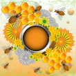 Summer frame with bees and flowers — Stock Vector