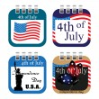 Stock Vector: Fourth of July calendar sheets