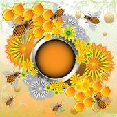 Marco de verano con abejas y flores — Vector de stock