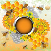 Summer frame with bees and flowers — Vector de stock
