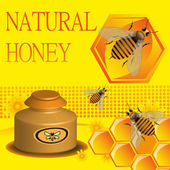 Natural honey — Vector de stock