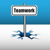 Placa de trabajo en equipo — Vector de stock