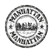 Manhattan grunge rubber stamp — Stock Vector