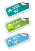 Earth day stickers — Stock Vector