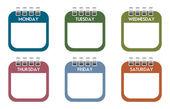 Week days calendar sheets — Stock Vector