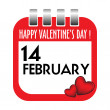 Valentine's Day calendar sheet — Stockvectorbeeld