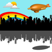 Flying over the city — Stock Vector