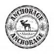 Anchorage alaska grunge lastik damgası — Stok Vektör