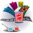 Постер, плакат: Popcorn and movie tickets