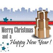 Buon natale e un felice anno nuovo — Vettoriale Stock