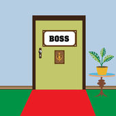 Door leading to the boss — Stock Vector