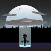 Abstract background with a few flying saucers teleporting an alien on the ground. UFO and alien theme — Wektor stockowy