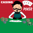 Poker dealer — Stock Vector