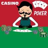 Poker dealer — Stock Vector