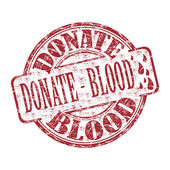 Donate blood grunge rubber stamp — Stock Vector