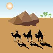 Bedouins near the pyramids — Stock Vector