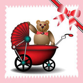 Baby carriage with teddy bear — Stock Vector