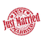 Just married grunge rubber stamp — Stok Vektör