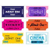 Set of six tickets — Stock Vector