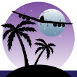 Plane flying over an island — Stock Vector