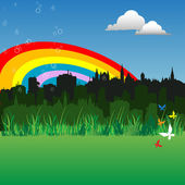 Rainbow over the city — Vector de stock