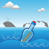 Message in a bottle — Stock Vector