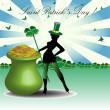 Hot leprechaun guarding a golden pot — Stock Vector
