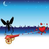 Cupido y cañón de amor — Vector de stock