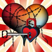 Locked heart — Stock Vector
