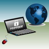 Bilgisayarınızı koruma — Stok Vektör