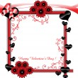 Valentine frame with hearts and flowers — Stock Vector