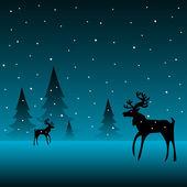 Reindeer in the cold winter — Stock Vector