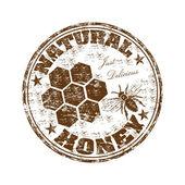 мед натуральный резиновый штамп — Cтоковый вектор