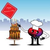 Cake for Valentine's Day — Stock Vector