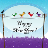 New Year birds — Stock Vector